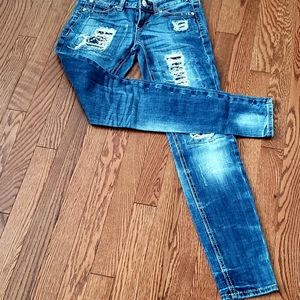 Express distressed skinny jeans size 0